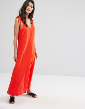 photo Red Sleeveless Dress by Selected Femme, color Flame Scarlet - Image 1