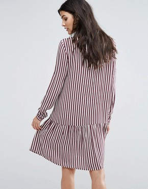 photo Striped Dropped Waist Dress by Selected Femme, color Striped - Image 2