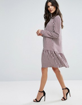 photo Striped Dropped Waist Dress by Selected Femme, color Striped - Image 4