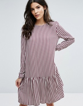 photo Striped Dropped Waist Dress by Selected Femme, color Striped - Image 1