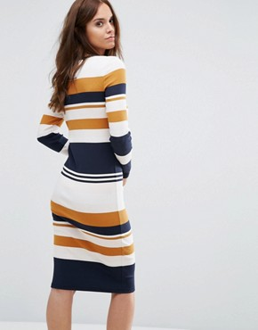 photo Bodycon Stripe Dress by Selected Femme, color Striped - Image 2