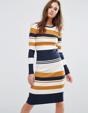 photo Bodycon Stripe Dress by Selected Femme, color Striped - Image 1