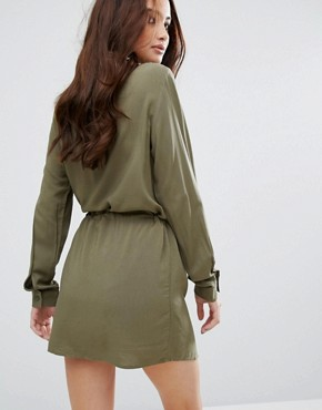 photo Drawstring Dress by JDY, color Dusty Olive - Image 2