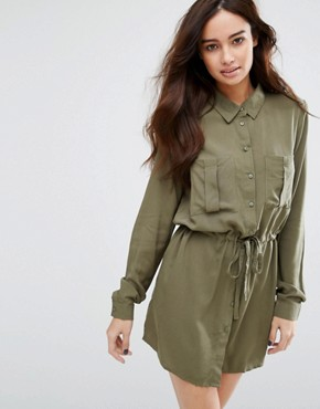 photo Drawstring Dress by JDY, color Dusty Olive - Image 1