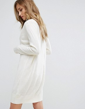 photo Knitted Dress with Deep V Neck by JDY, color White - Image 2