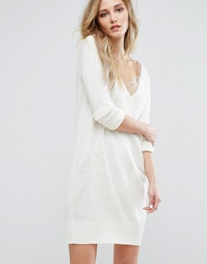 photo Knitted Dress with Deep V Neck by JDY, color White - Image 1