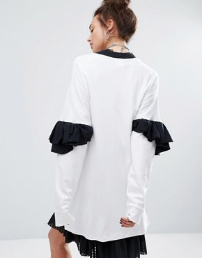 photo Sweat Dress with Frill Sleeves by The Ragged Priest, color White - Image 2