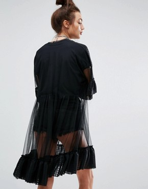 photo Mesh Dress with Frill Hem by The Ragged Priest, color Black - Image 2