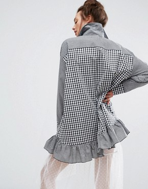 photo Shirt Dress In Gingham With Patch by The Ragged Priest, color Black - Image 2