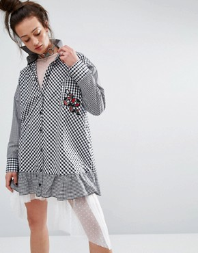 photo Shirt Dress In Gingham with Patch by The Ragged Priest, color Black - Image 1