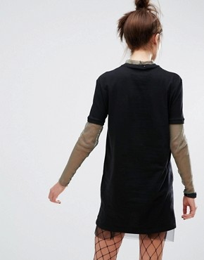 photo T-Shirt Dress with Mesh Layer by The Ragged Priest, color Black - Image 2