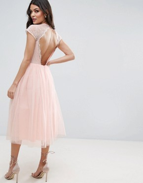photo Lace Tulle Midi Prom Dress by ASOS PREMIUM, color Nude - Image 2