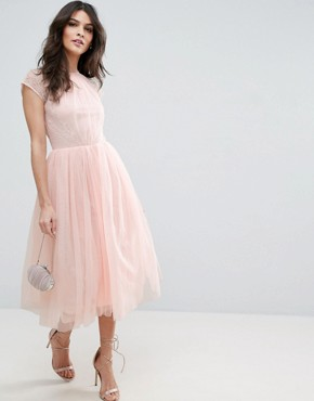 photo Lace Tulle Midi Prom Dress by ASOS PREMIUM, color Nude - Image 1