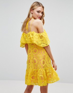 photo Lace Cold Shoulder Dress with Contrast Lining by ASOS TALL, color Yellow - Image 2
