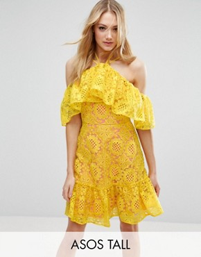 photo Lace Cold Shoulder Dress with Contrast Lining by ASOS TALL, color Yellow - Image 1