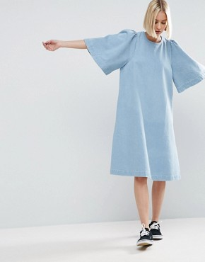 photo Denim Wide Sleeve Dress by ASOS WHITE, color Blue - Image 1