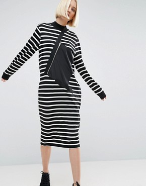 photo Stripe Sweater Dress With Zip Pocket Detail by ASOS WHITE, color  - Image 1