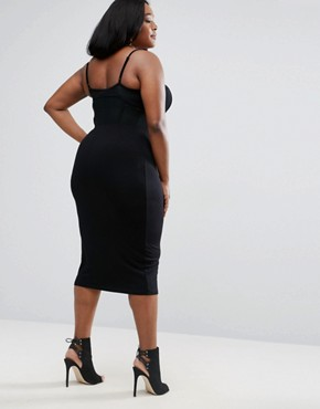 photo Strappy Sheer Corset Midi Dress by ASOS CURVE, color Black - Image 2