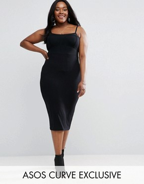 photo Strappy Sheer Corset Midi Dress by ASOS CURVE, color Black - Image 1