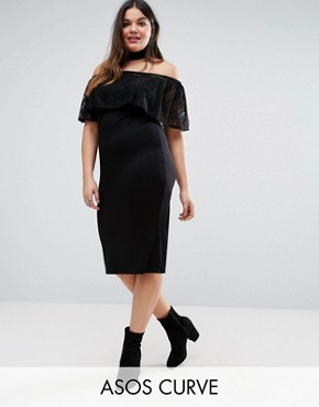 photo Bardot Off Shoulder Dress with Lace Ruffle by ASOS CURVE, color Black - Image 1