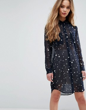 photo Molly Spray Print Shirt Dress by Samsoe & Samsoe, color Blue Ink - Image 1
