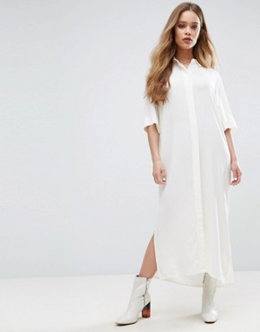 photo Sook Maxi Shirt Dress by Samsoe & Samsoe, color Clear Cream - Image 1