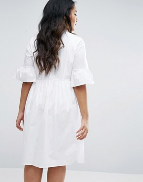 photo Frill Sleeve Shirt Dress by Lovedrobe, color White - Image 2