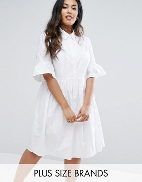 photo Frill Sleeve Shirt Dress by Lovedrobe, color White - Image 1