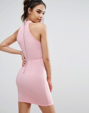 photo High Neck Dress with Cut Out Detail and Metal Trims by Ginger Fizz, color Candy Pink - Image 2
