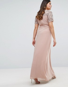 photo Embellished Detail Maxi Dress with Chiffon Skirt by Lovedrobe Luxe, color Rose Gold - Image 2