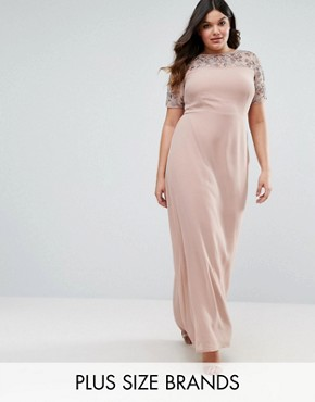 photo Embellished Detail Maxi Dress with Chiffon Skirt by Lovedrobe Luxe, color Rose Gold - Image 1