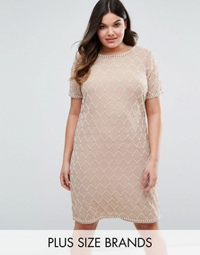 photo All Over Embellished Shift Dress by Lovedrobe Luxe, color Mink - Image 1