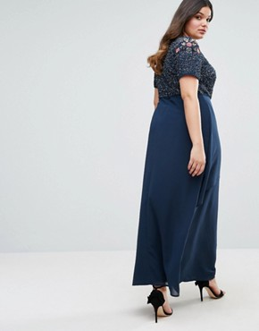 photo Rose Embellished Bodice Maxi Dress with Wrap Skirt by Lovedrobe Luxe, color Navy - Image 2