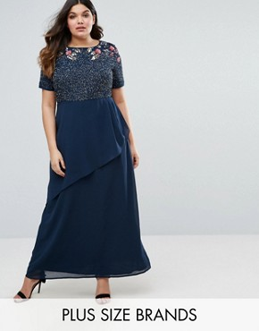 photo Rose Embellished Bodice Maxi Dress with Wrap Skirt by Lovedrobe Luxe, color Navy - Image 1