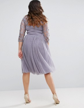 photo Short Sleeve Lace Bodice Mini Dress with Tulle Skirt by Little Mistress Plus, color Grey - Image 2