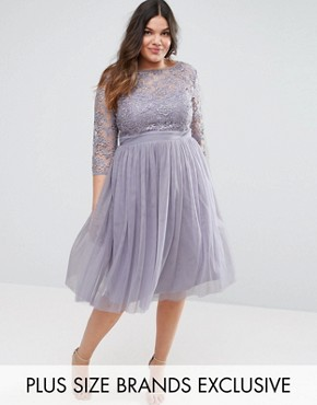 photo Short Sleeve Lace Bodice Mini Dress with Tulle Skirt by Little Mistress Plus, color Grey - Image 1