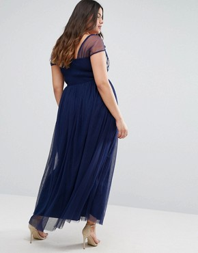 photo Floral Embroidered Maxi Dress by Little Mistress Plus, color Navy - Image 2