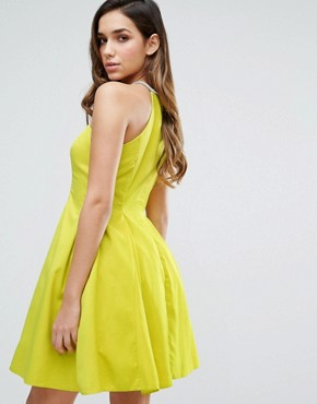 photo Neckless Halter Dress by Forever Unique, color Lime - Image 2