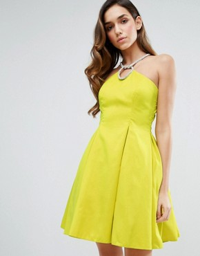 photo Neckless Halter Dress by Forever Unique, color Lime - Image 1