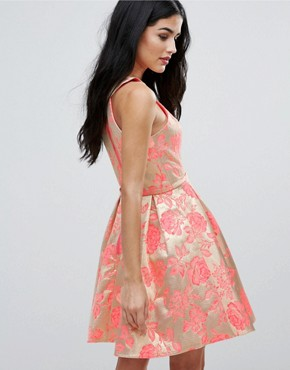 photo Printed Pleated Dress by Forever Unique, color Jacquard Rose - Image 2