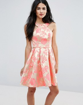 photo Printed Pleated Dress by Forever Unique, color Jacquard Rose - Image 1