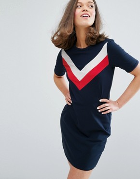 photo Contrast Stripe T-Shirt Dress by Monki, color Navy Multi - Image 1