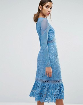 photo Lace Midi Dress with Frill Hem by Three Floor, color Blue - Image 2