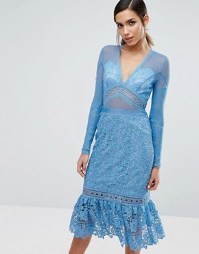 photo Lace Midi Dress with Frill Hem by Three Floor, color Blue - Image 1