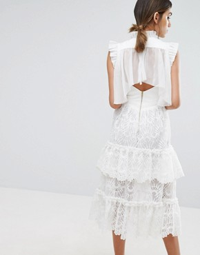 photo Tiered Midi Lace Dress by Three Floor, color White - Image 2