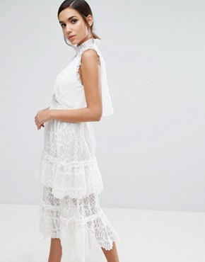 photo Tiered Midi Lace Dress by Three Floor, color White - Image 1