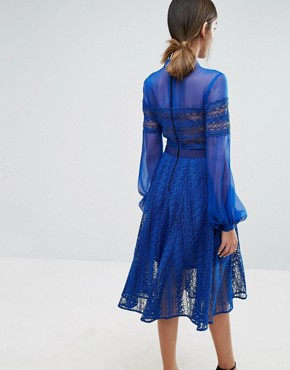photo Lace Midi Dress with Sheer Sleeve by Three Floor, color Blue - Image 2