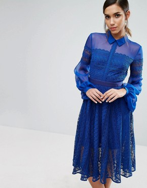 photo Lace Midi Dress with Sheer Sleeve by Three Floor, color Blue - Image 1