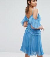 photo Cold Shoulder Mini Dress with Pleated Skirt by Three Floor, color Blue - Image 2
