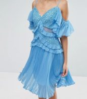 photo Cold Shoulder Mini Dress with Pleated Skirt by Three Floor, color Blue - Image 3